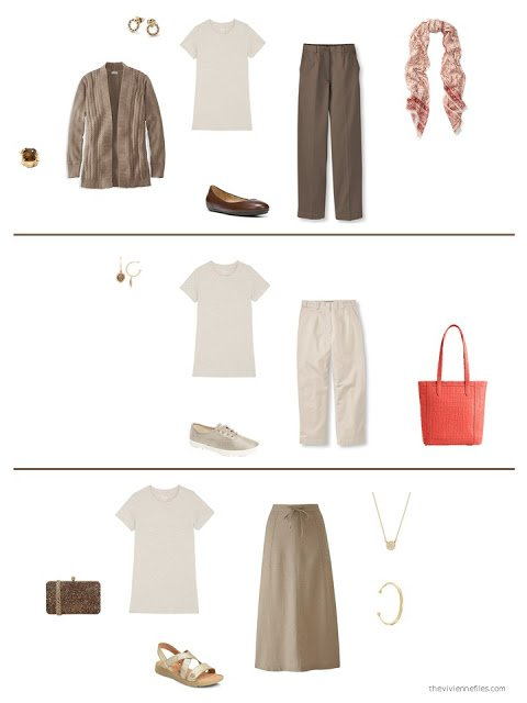 three ways to style an oatmeal tee shirt in a capsule wardrobe