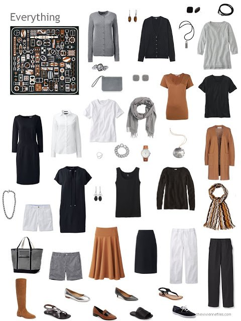 a capsule wardrobe based on Hermes Carre en Boucles scarf, in black, white and caramel brown