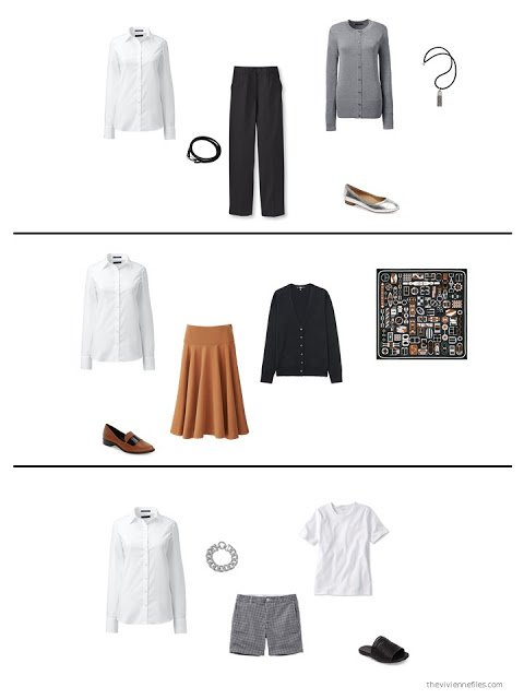 three ways to style a white shirt in a capsule wardrobe