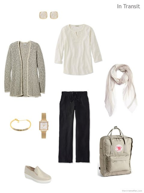travel outfit in black and beige
