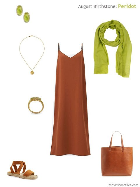 rust dress with peridot accessories
