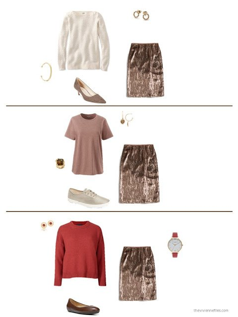 three ways to style a brown sequined skirt in a capsule wardrobe