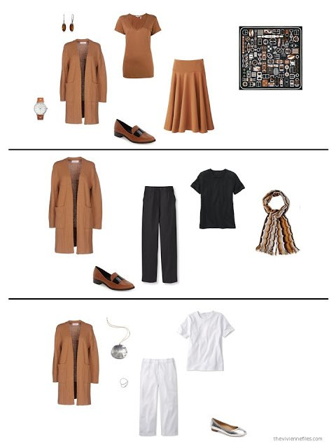 three ways to style a whiskey brown cardigan in a capsule wardrobe