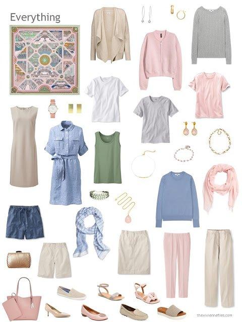 a capsule wardrobe in beige, denim blue, pink and grey