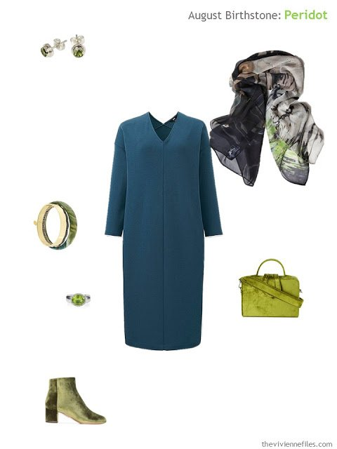 teal dress with peridot accessories