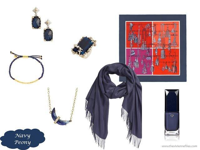 Navy Peony accessory family from the Pantone 2017 Fall colors