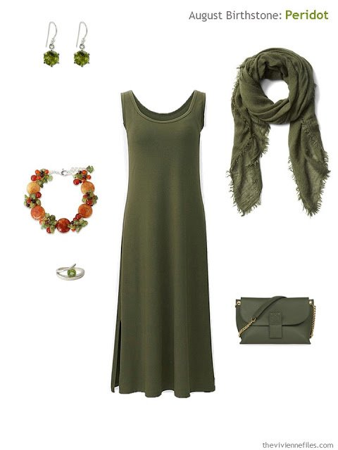 olive dress with peridot accessories