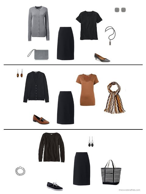 three ways to style a black skirt in a capsule wardrobe