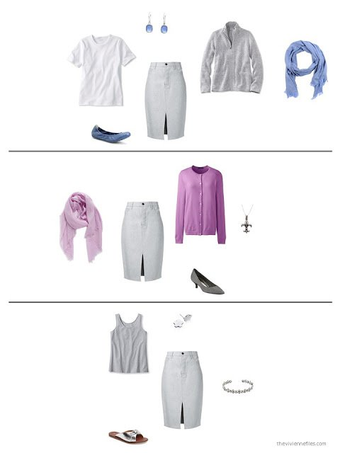 3 ways to style a grey skirt in a capsule wardrobe