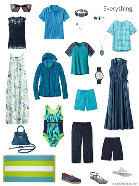 a summer travel capsule wardrobe in navy and azure blue with touches of lime green