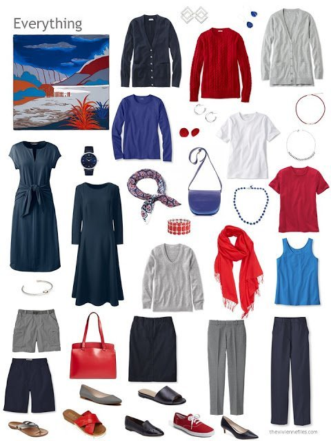 a capsule wardrobe in navy, grey, blue, red and white