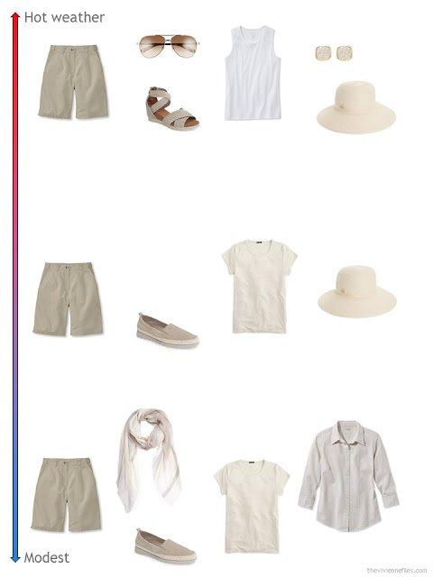 3 ways to style khaki shorts from a travel capsule wardrobe