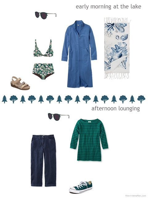 2 outfits from a six-pack in teal, blue and beige