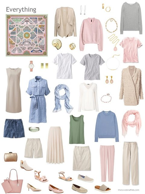 a capsule wardrobe in beige, blue, pink and green, based on Hermes Flanerie a Versailles scarf