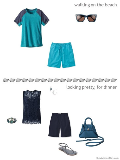 two outfits drawn from a summer travel capsule wardrobe in navy and azure blue with touches of lime green
