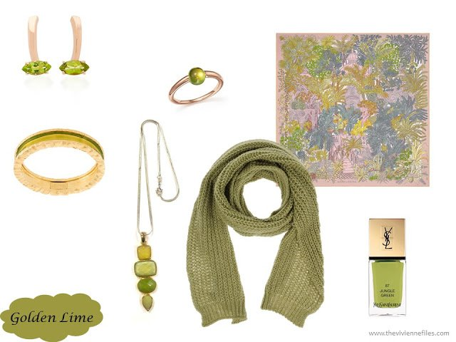 Golden Lime accessory family from the Pantone 2017 Fall colors
