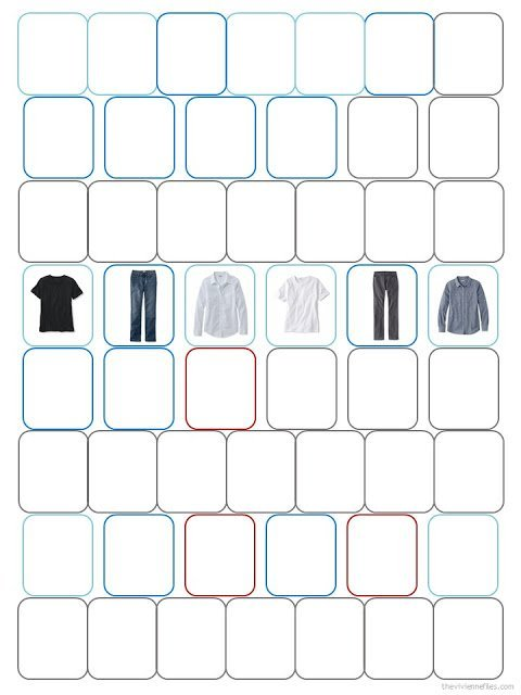 six garment images within a 52-piece complete wardrobe diagram