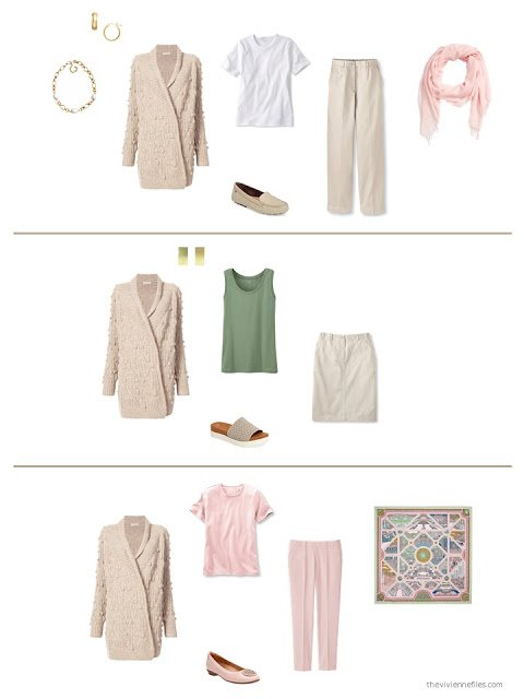 three ways to style a beige cardigan in a capsule wardrobe