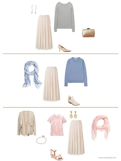 three ways to style a beige skirt in a capsule wardrobe