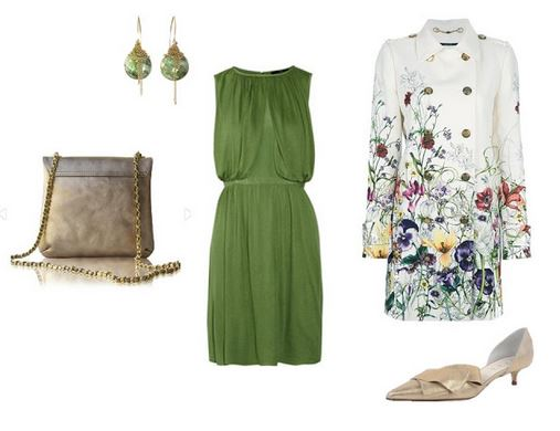 a special occasion outfit of a green dress, floral coat and gold accessories