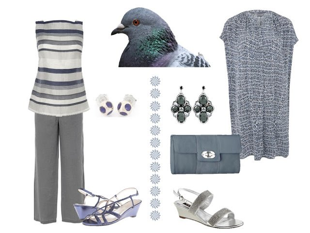 two dressy outfits based on the colors of a pigeon
