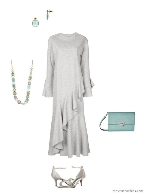 grey sweatshirt dress black-tie outfit