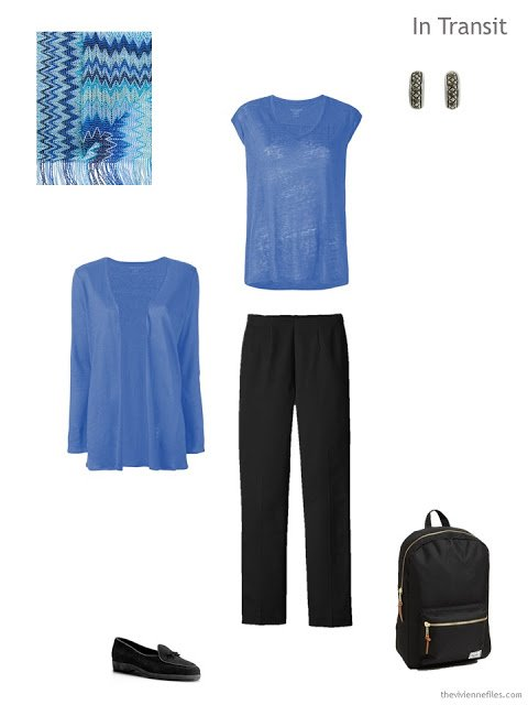 travel outfit in black and blue