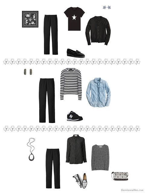 3 ways to style black trousers from a travel capsule wardrobe