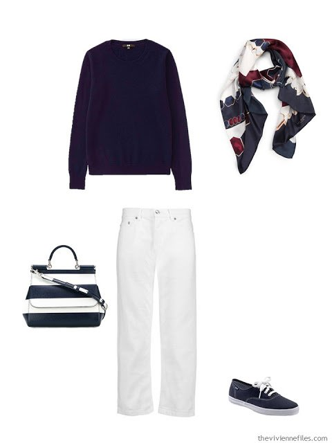 navy cashmere crewneck sweater with white jeans