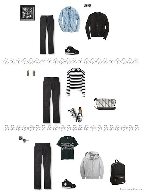 3 ways to style black jeans from a travel capsule wardrobe