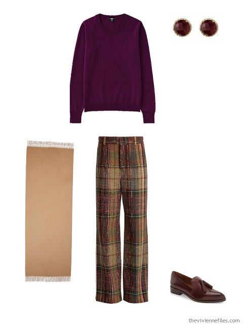 wine cashmere crewneck sweater with plaid pants