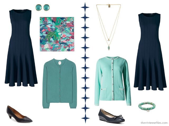 a navy dress with accessory families in green