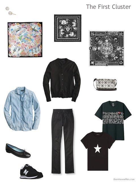 a travel wardrobe cluster built around a pair of black Dearborn Denim jeans