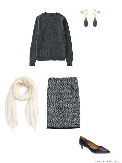 charcoal grey cashmere crewneck sweater with tweed skirt