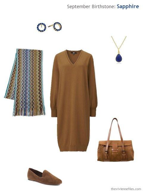 rust dress with sapphire jewelry