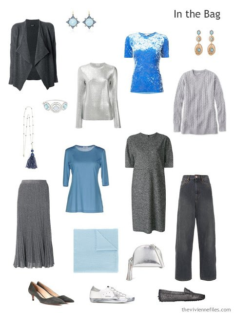 travel capsule wardrobe in grey and shades of blue