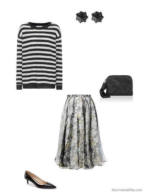 striped sweater and floral skirt black tie outfit