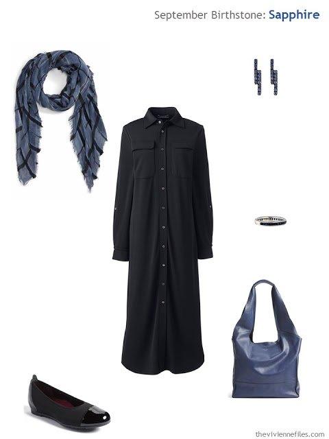 black dress with sapphire jewelry