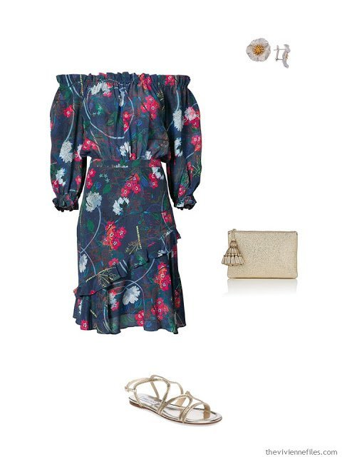 navy floral dress black tie outfit