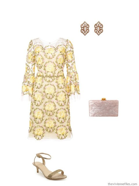 yellow lace dress black tie outfit