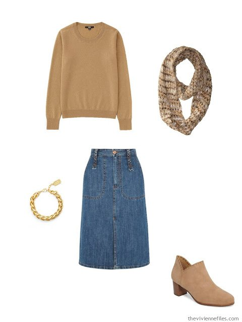 camel cashmere crewneck sweater with denim skirt