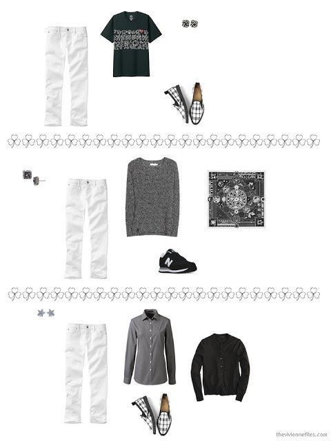 3 ways to style white jeans from a travel capsule wardrobe