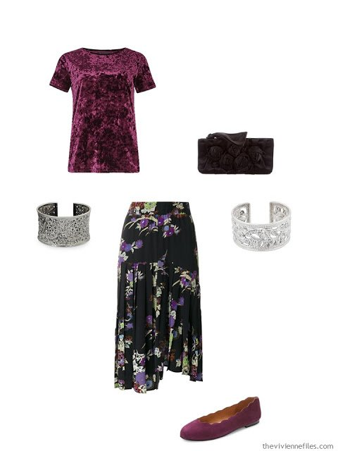 velvet tee shirt and floral skirt black tie outfit
