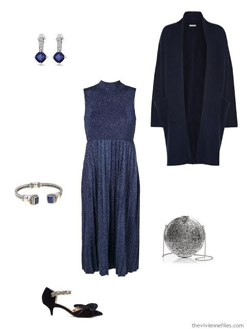 blue dress black tie outfit