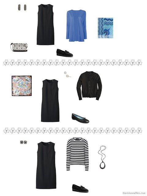 3 ways to style a sleeveless black dress from a travel capsule wardrobe
