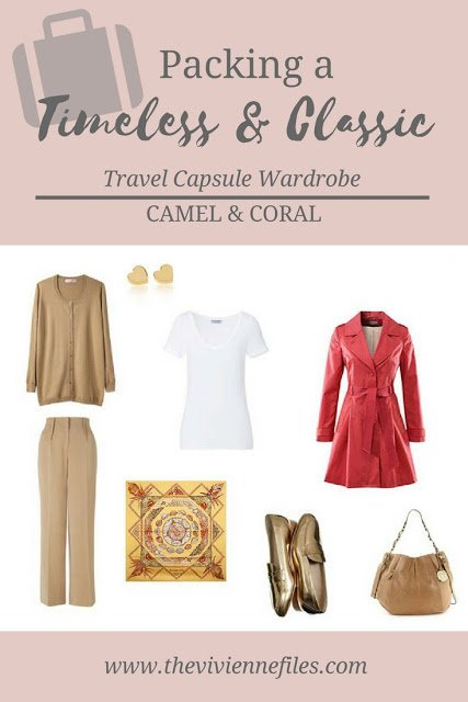 An Early, But Timeless Travel Capsule Wardrobe in Camel and Coral