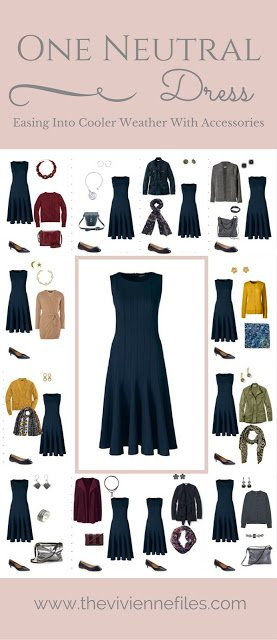 Easing a Neutral Dress into Cooler Weather with Accessories