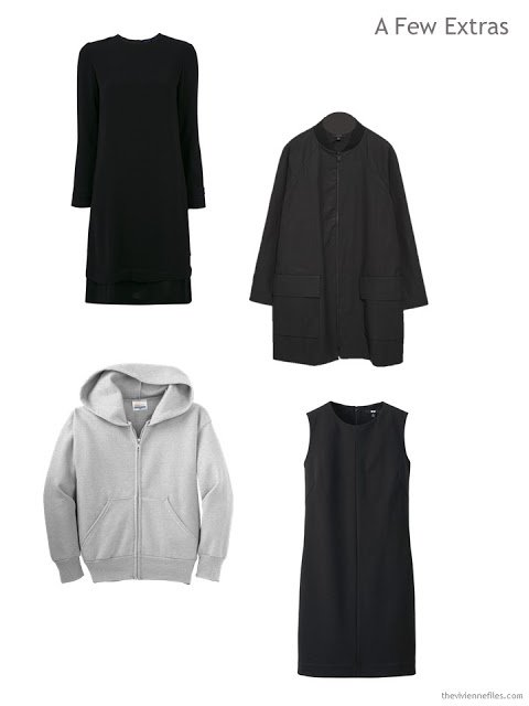 Clothing items in a travel capsule wardrobe
