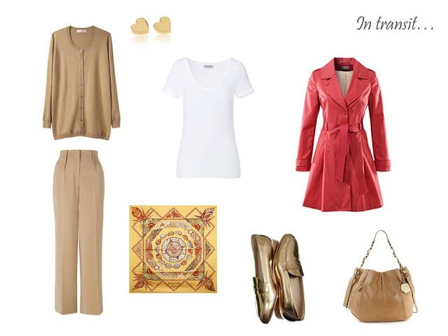 travel outfit in camel and white with coral and gold accents