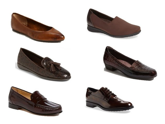 six pairs of classic brown shoes